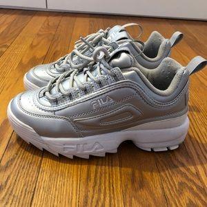 silver metallic fila disrupters